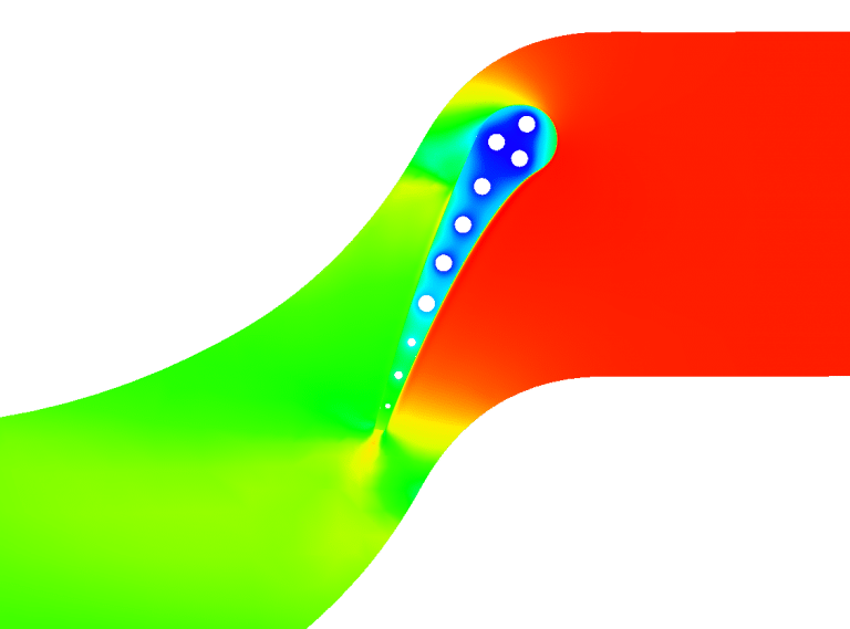 Turbine Nozzle Stress and Temperature distribution Fatigue Coupled CFD FEA CHT Ansys Fluent Abaqus Nastran Openfoam Siemens Star-ccm